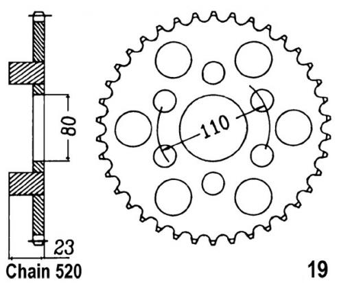 Aprilia AF1 125 Sport 93 Sprocket Rear Less 1 Tooth - JT (Check Chain Length)