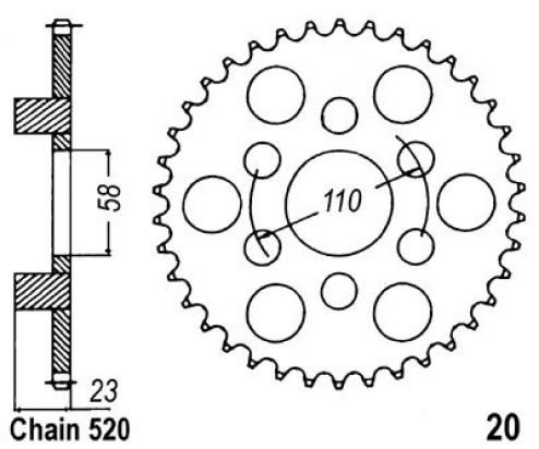 Aprilia Classic 125 00-01 Sprocket Rear - Pattern