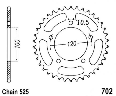 Aprilia RSV 1000 Mille SP 99 Sprocket Rear Plus 1 Tooth - Pattern (Check Chain Length)