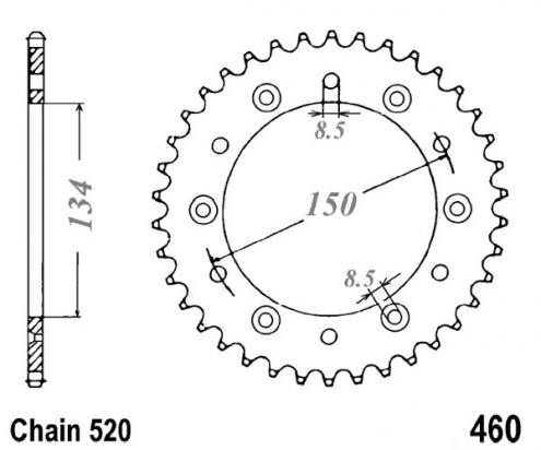 Kawasaki KX 250 A6-7 80-82 Sprocket Rear Less 2 Teeth - Pattern (Check Chain Length)