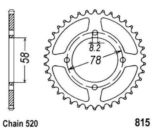 Suzuki SB 200 E N/X 79-81 Sprocket Rear - JT