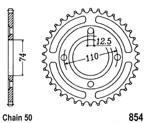 Yamaha RD 400 DXE (Alloy Wheels) 78-80 Zadní rozeta JT - větší o 1 zub