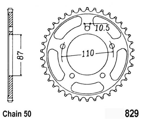 Suzuki GSX 600 F P 93 Sprocket Rear Less 2 Teeth - JT (Check Chain Length)