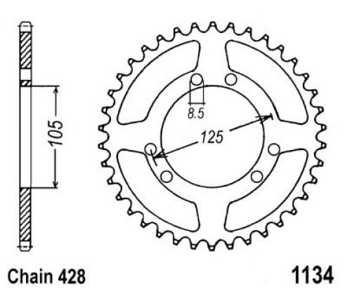 Rieju RS3 125 11 Corona Dentada Trasera - JT