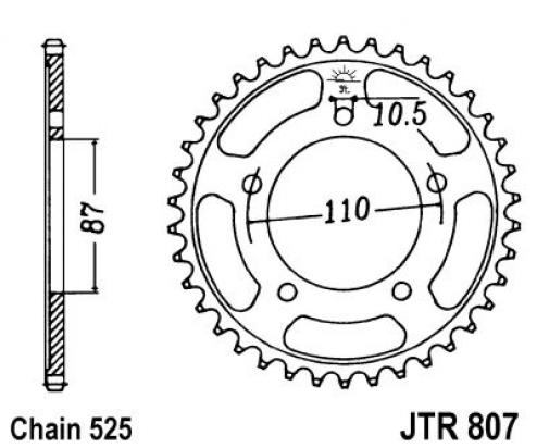 Suzuki SV 650 SK4 04 Sprocket Rear Less 2 Teeth - JT (Check Chain Length)