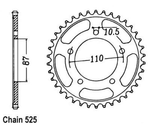 Suzuki GSX 650 FAL2 12-13 Sprocket Rear - JT