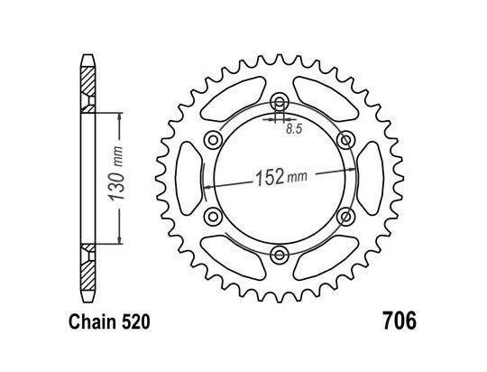 Aprilia RXV 450 09 Sprocket Rear Less 2 Teeth - JT (Check Chain Length)
