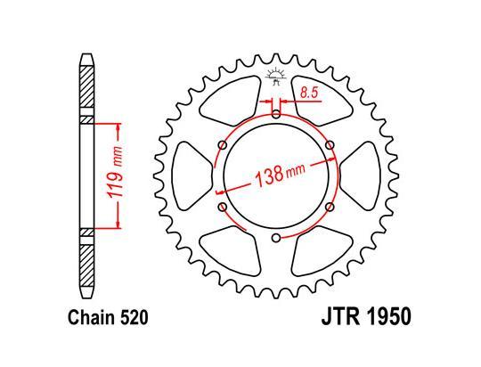 Husaberg 600 Enduro 93-95 Corona Dentada Trasera - más 2 dientes - JT (comprobar longitud)