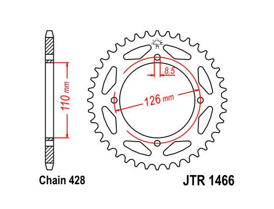Kawasaki KLX 125 CEF 14 Sprocket Rear Less 3 Teeth - JT (Check Chain Length)
