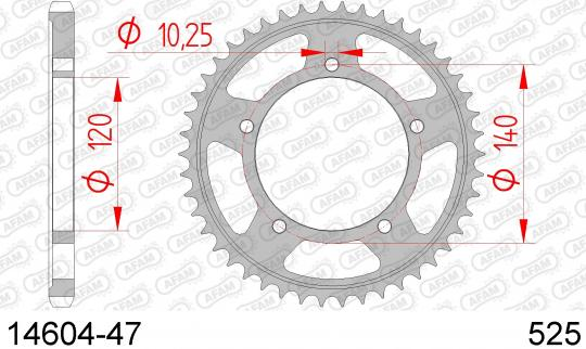Suzuki GSXR 750 K7 07 Sprocket Rear Plus 2 Tooth - Afam (Check Chain Length)