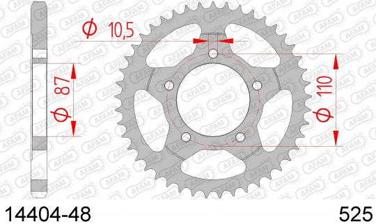 Suzuki GSF 400 K/NK/Z/P/NP Bandit (GK75A) (German Market) 89-94 Sprocket Rear Plus 2 Tooth - Afam (Check Chain Length)