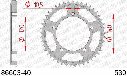 Suzuki GSXR 1000 K5 05 Sprocket Rear Less 2 Tooth - Afam (Check Chain Length)