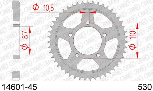 Suzuki GSX 600 F P 93 Sprocket Rear - Afam