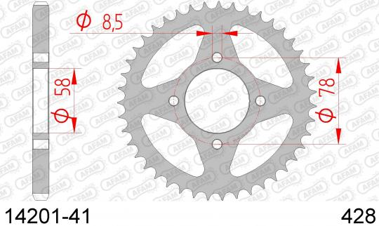 Suzuki GS 125 UY Kick Start 00 Sprocket Rear Less 2 Tooth - Afam (Check Chain Length)