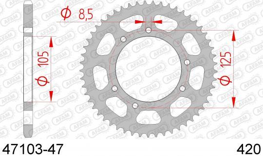 Rieju RS Sport 50 13 Corona Trasera (Plato) - Afam