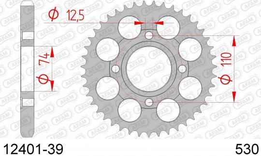 Yamaha RD 400 DXE (Alloy Wheels) 78-80 Zadní rozeta Afam - větší o 3 zuby