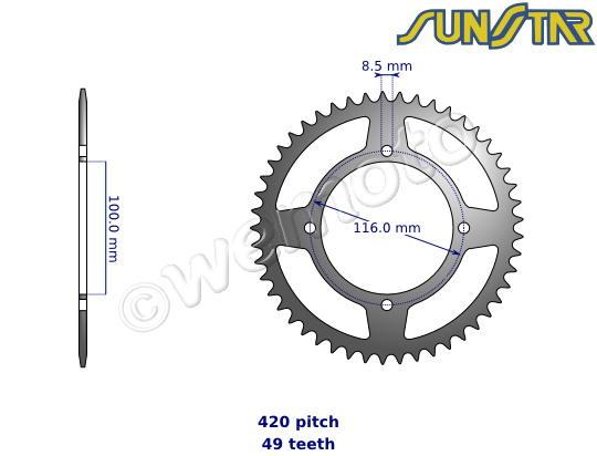 Kawasaki KX 85-II DEF 14 SunStar Sprocket Rear - Steel - Less 2 Teeth