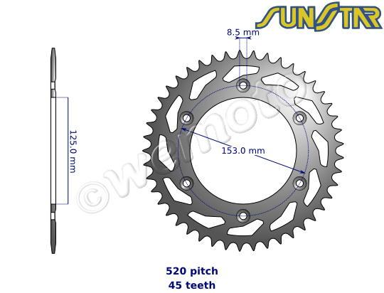 Honda TRX 420 FE7/TE7 Fourtrax Rancher 07 SunStar Sprocket Rear - Steel