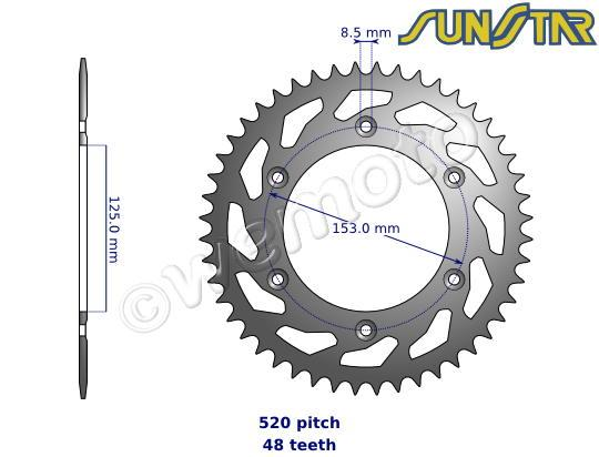 Honda CR 125 RE 84 SunStar Sprocket Rear - Steel - Less 3 Teeth