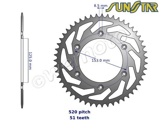 Honda CR 125 RG 86 SunStar Sprocket Rear - Steel