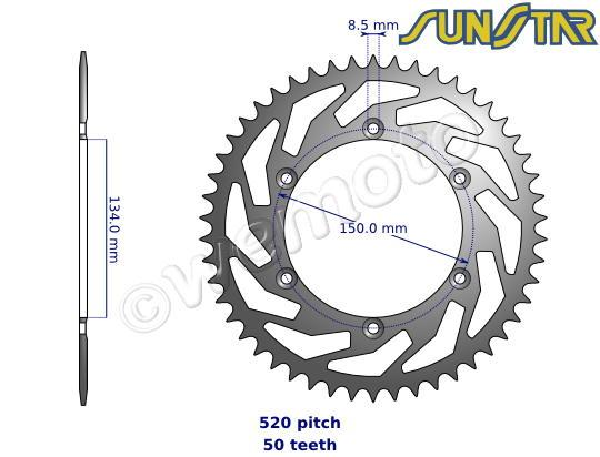 Kawasaki KX 500 D1 88 SunStar Sprocket Rear - Steel - Plus 3 Teeth