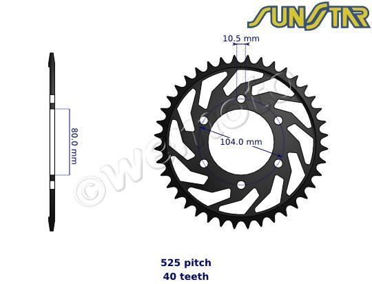 Kawasaki ZX-6R (ZX 636 A1P) 02 SunStar Sprocket Rear - Steel