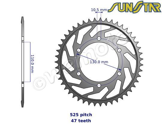 Suzuki GSXR 750 L5 15 SunStar Sprocket Rear - Steel - Plus 2 Teeth