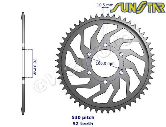 Suzuki GS 550 LT (Custom) (UK Model) 79-80 SunStar Sprocket Rear - Steel - Plus 2 Teeth