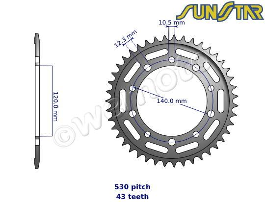 suzuki gsxr 1000 k3 03 sunstar sprocket rear