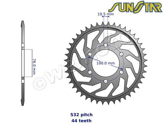 Suzuki RF 900 RX 99 SunStar Sprocket Rear - Steel - Plus 1 Tooth