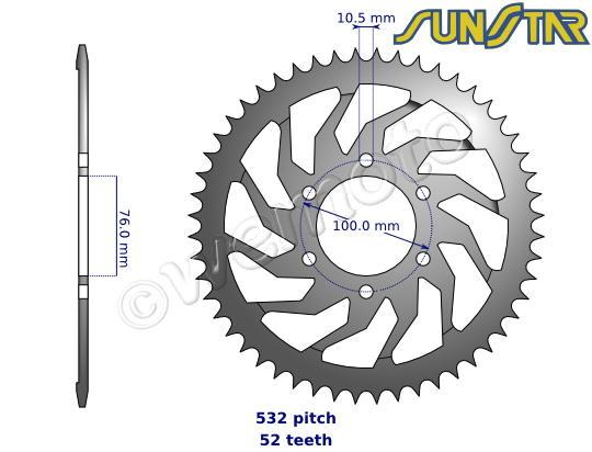 Suzuki GSX 1100 FJ (GV72A, GV72B, GV72C) 88 SunStar Sprocket Rear - Steel