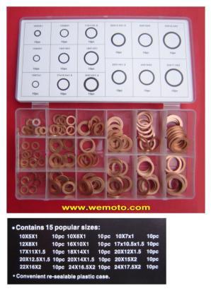 Parts Tray - Washer Assortment Kit Copper 150 pc. M10 to M24mm internal