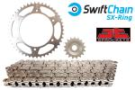 Kawasaki KLX 650 C3-C4 95-97 Swift Heavy Duty Bright Steel SX-Ring Chain and JT Sprocket Kit