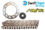Honda VFR 400 ZG/ZH/RG/RG-YA (NC21)(Japan) 85-87 Swift Heavy Duty Bright Steel SX-Ring Chain and SunStar Sprocket Kit