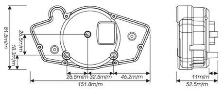 KOSO GP style dashboard size diagram