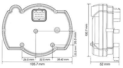KOSO rx-2n size diagram
