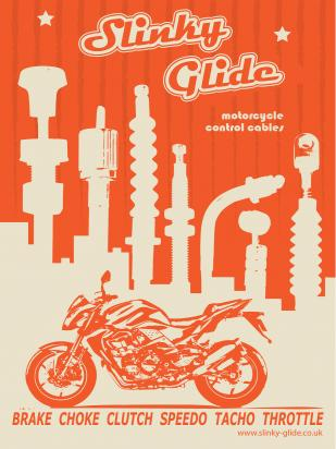 Picture of Motorcycle Retro Poster Slinky Glide Orange Size A1 594 x 841mm