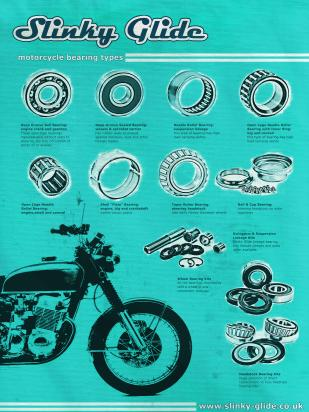 Picture of Motorcycle retro Poster Slinky Glide Bearings Blue  Size A1 594 x 841mm