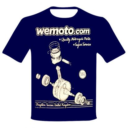 Picture of T-Shirt Wemoto.com Retro Design Navy Blue - Small (Chest 34-36 inch)