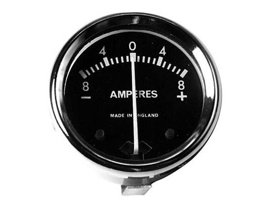 Picture of Ammeter - Black Dial With Chrome Bezel 1 3/4 inch Diameter. Reading 8-0-8