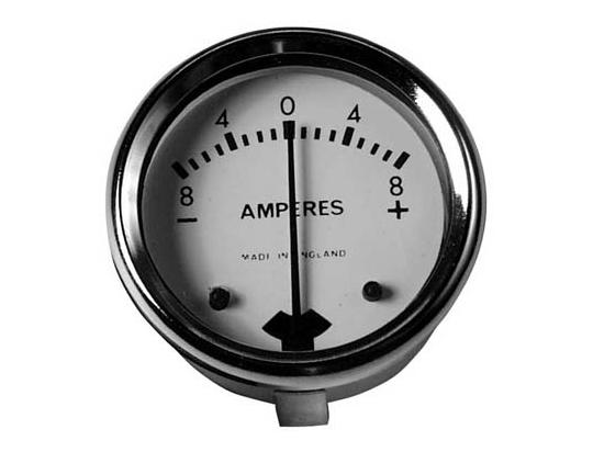 Picture of Ammeter - White Dial With Chrome Bezel 1 3/4 inch Diameter. Reading 8-0-8