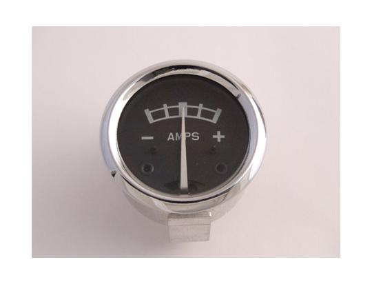 Picture of Ammeter - Black Dial With Metal Case 1 3/4 inch Diameter. Reading 8-0-8