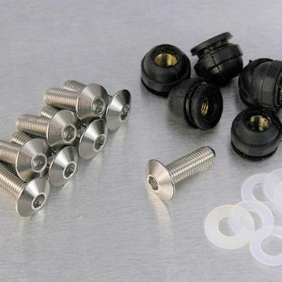 Picture of Stainless Steel Screen Bolt Kit - 4MM Fine thread - 7 Bolts, Rubber nuts and anti-scratch Washers