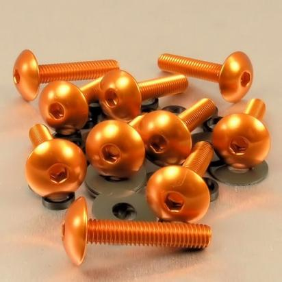 Picture of Pro-Bolt Aluminium Domed Head Bolt - M6x1.00mmx30mm - Orange - Pack of 10