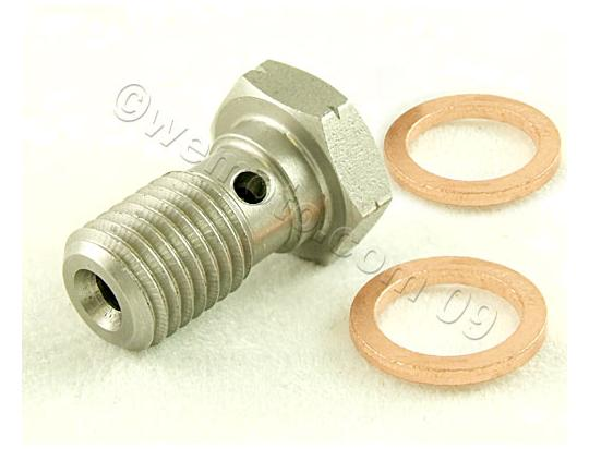 Picture of Banjo Bolt Stainless 1.00mm Thread with 2 Copper Washers