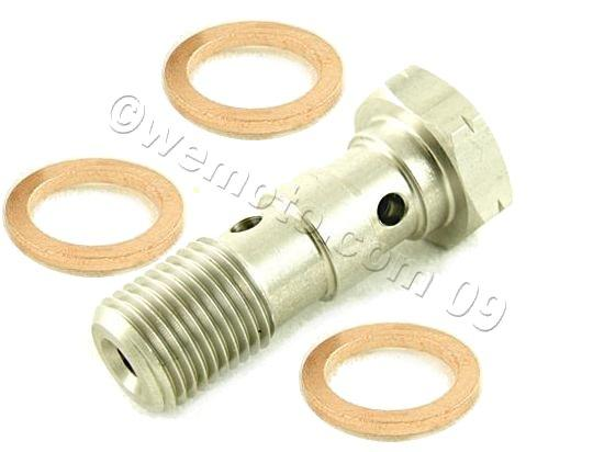 Picture of Banjo Bolt Double Stainless 1.25mm Thread (For 2 Lines) with 3 Copper Washers