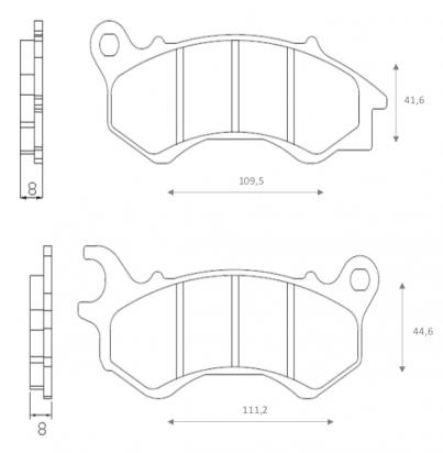 Picture of Honda PCX 125 (WW 125) 16 Brake Pads Front Brenta Standard (GG Type)