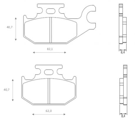Picture of Suzuki UH 200 L5 Burgman 15 Brake Pads Rear Brenta Sintered (HH Type)