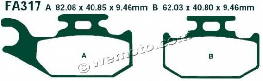 Picture of CAN AM Outlander 400 (4x4 STD) 08 Brake Pads Front Right EBC Standard (GG Type)