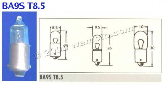 Picture of Indicator Bulb BA9S 12V 23W Clear